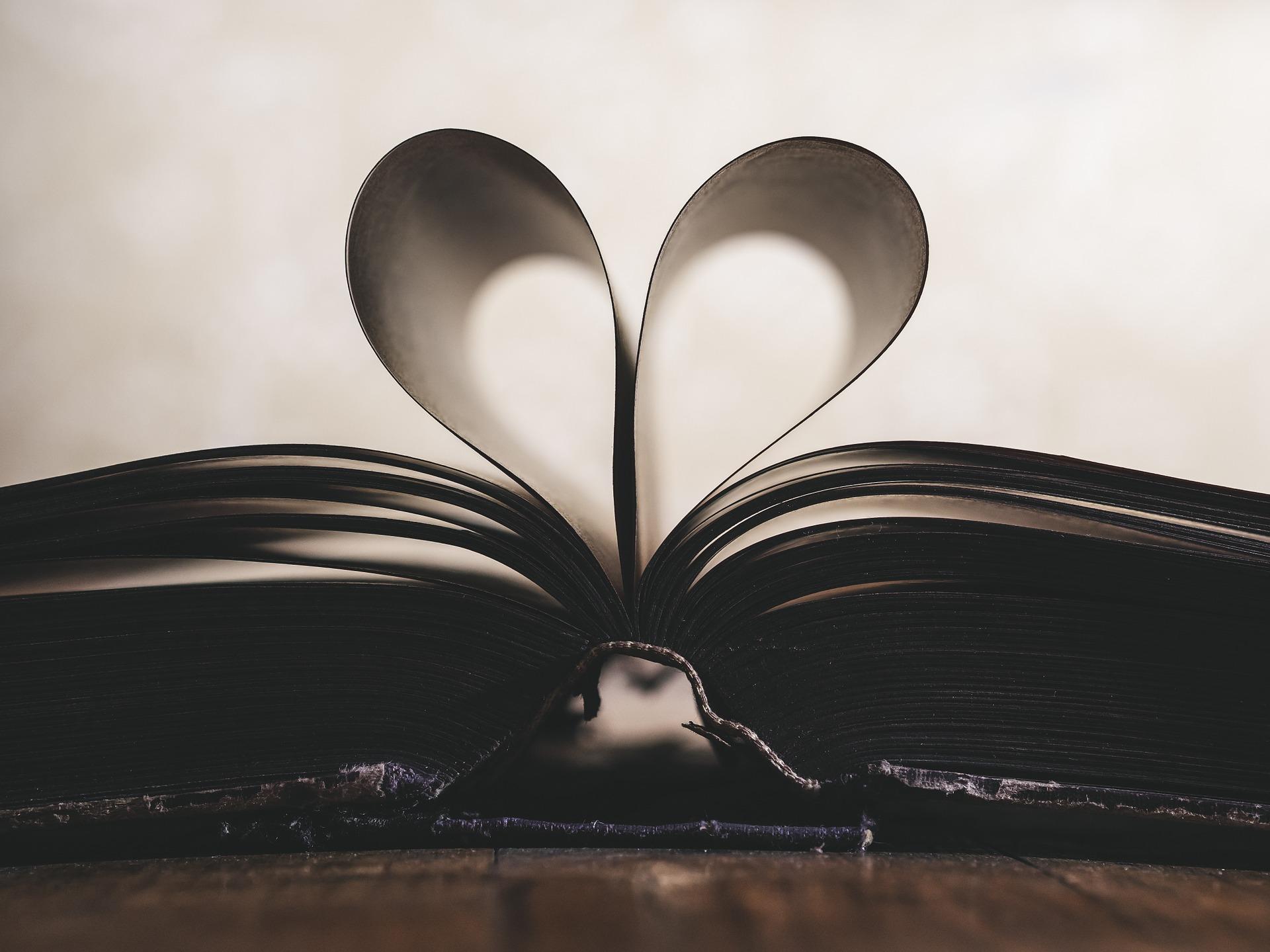 Seiten eines Buches werden zu einem Herz geformt