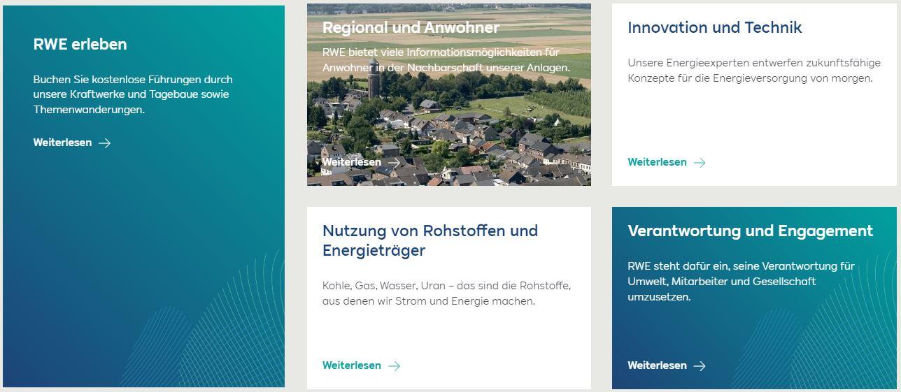 Screenshot: RWE Homepage